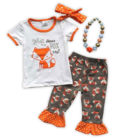 Gray Orange Polka Fox Capri Set