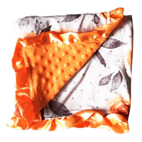 Gray Polka Dot Orange Floral Minky Blanket