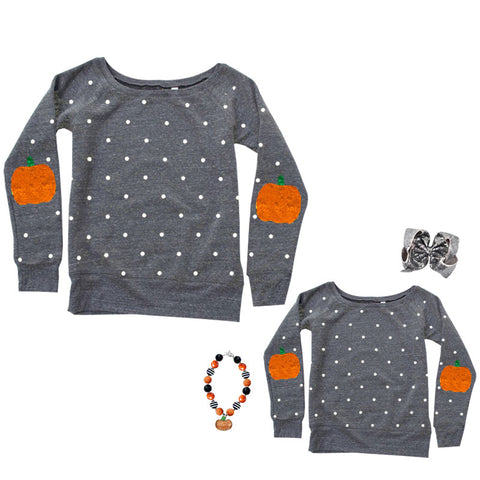 Gray Pumpkin Shirt Polka Dot Mommy And Me