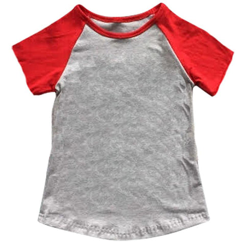 Gray Red Raglan Shirt Short Sleeve