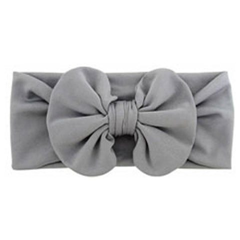 Gray Ruffle Bow Headband