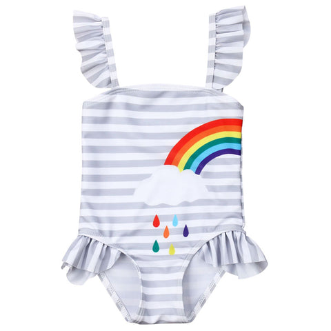 Gray Stripe Best Friends Rainbow Swimsuit Matching One Piece