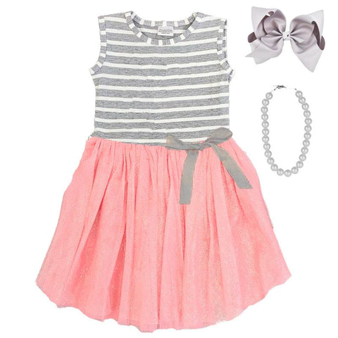 Gray Stripe Bow Tutu Dress Peach Pink