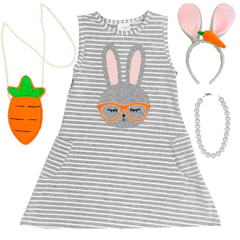 Gray Stripe Bunny Glasses Tank Dress Pocket