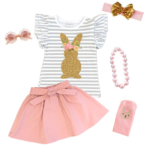Gray Stripe Gold Bunny Outfit Blush Top And Skirt