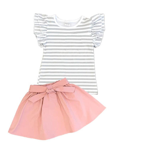 Gray Stripe Outfit Blush Top And Skirt