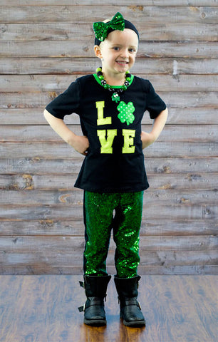 Green Black Love Sequin Pant Set
