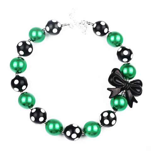 Green Black Necklace Polka Dot Chunky Gumball