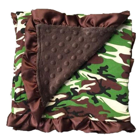 Green Camo Brown Minky Blanket
