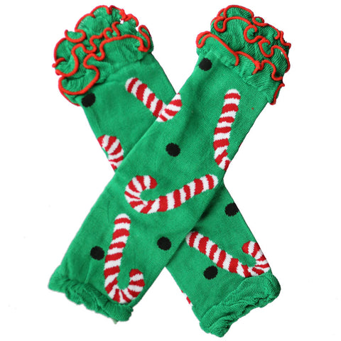 Green Candy Cane Leg Warmers Red Ruffle Black Polka Dot
