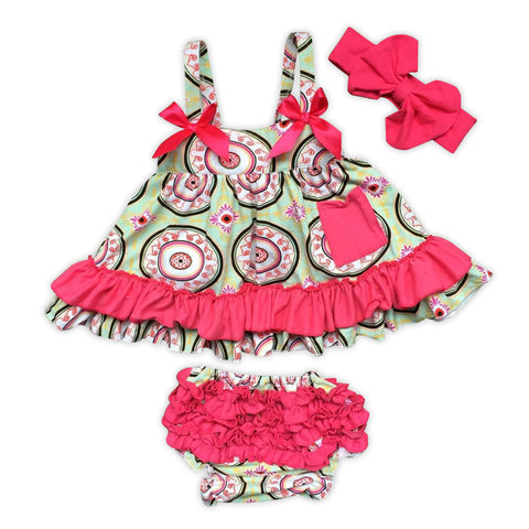 Green Circles Hot Pink Ruffle Two Piece