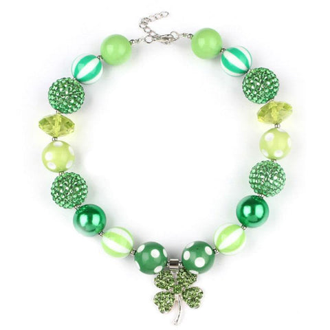 Green Clover Necklace Sparkle Chunky Gumball