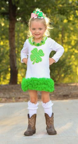 Green Clover Ruffle Dress