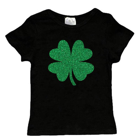 Green Clover Shirt Black Short Sleeve