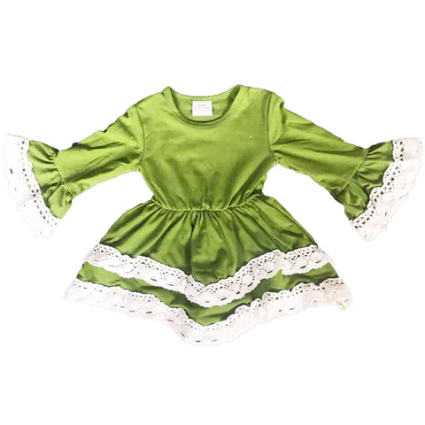 Green Dress White Lace Ruffle