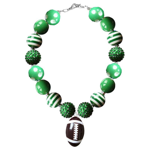 Green Football Necklace Polka Dot Stripe Chunky Gumball