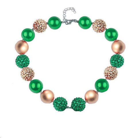 Green Gold Necklace Sparkle Diamond Chunky Gumball