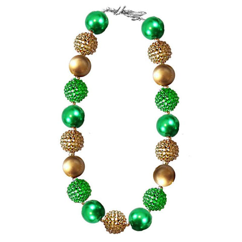 Green Gold Necklace Sparkle Gumball Chunky