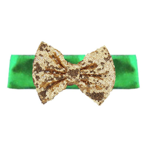 Green Headband Gold Sequin Bow