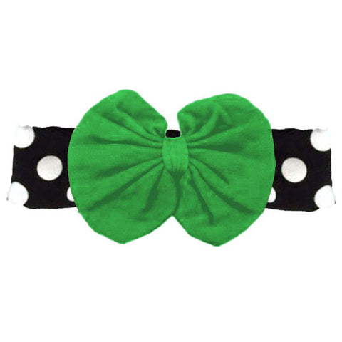 Green Headband Messy Bow Polka Dot