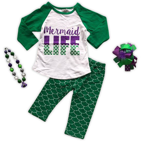 Green Mermaid Life Top And Pants