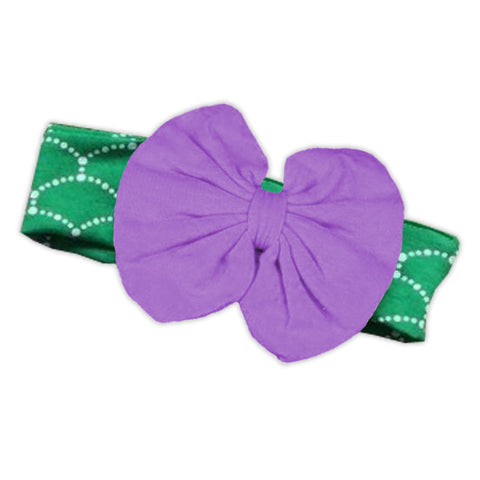 Green Mermaid Purple Messy Bow Headband