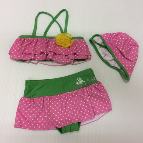 Green Pink Polka Dot Swimsuit Yellow Flower