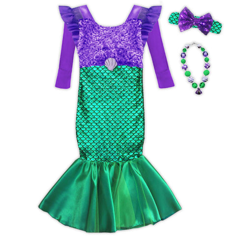 Green Purple Sequin Shell Mermaid Costume