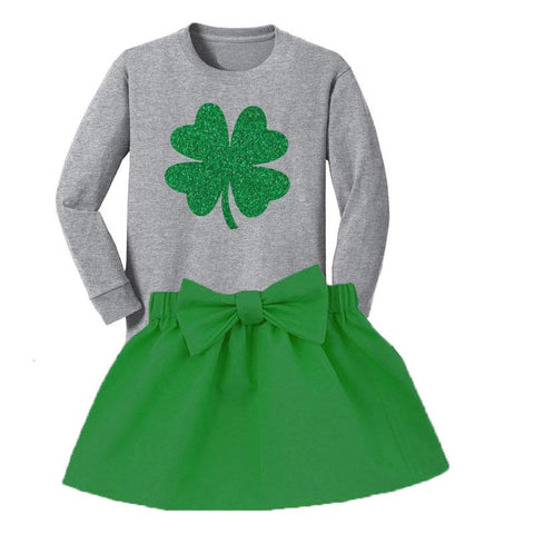a349034431cd Green Shamrock Outfit Gray Top And Skirt – Upon A Bowtique