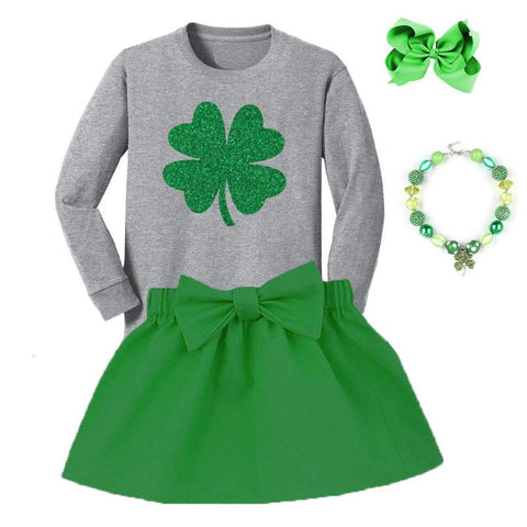 Green Shamrock Outfit Gray Top And Skirt