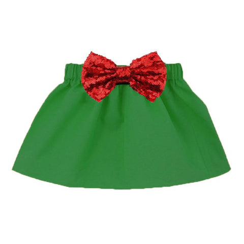Green Skirt Red Sequin Bow