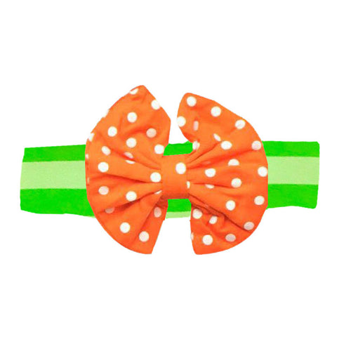 Green Stripe Orange Polka Messy Bow Headband