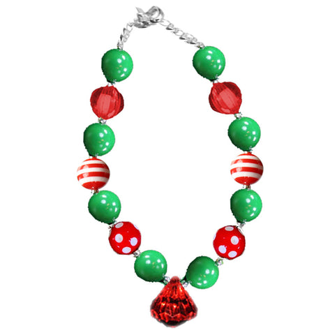 Green Stripe Polka Red Diamond Necklace