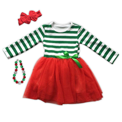 Green Stripe Red Tutu Dress