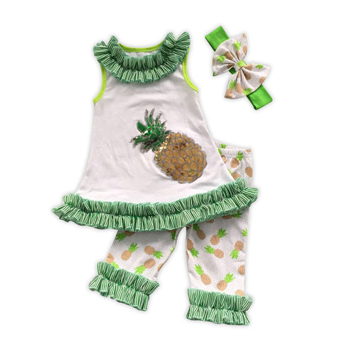Green Stripe Sequin Pineapple Capri Set