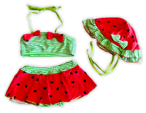 Green Stripe Watermelon Swimsuit
