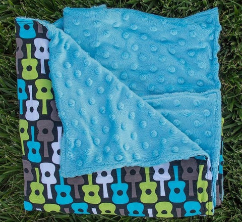 Guitar Teal Minky Blanket