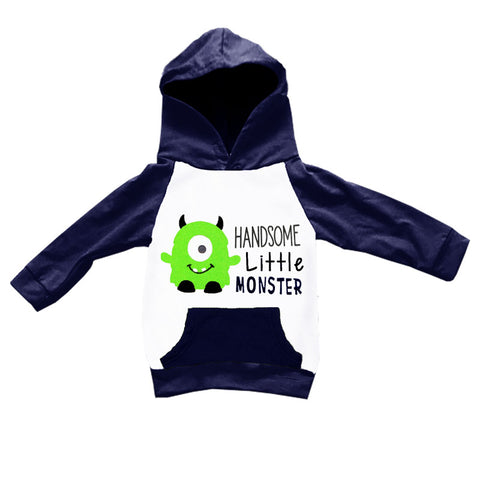Handsome Little Monster Navy Hoodie