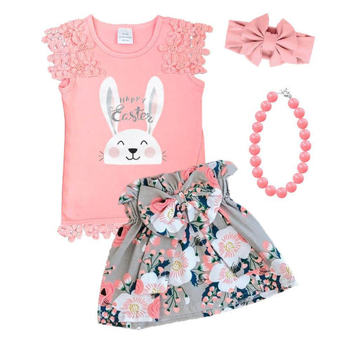 Happy Easter Bunny Outfit Coral Gray Floral Top And Skirt