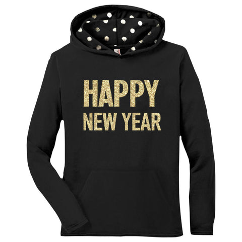 Happy New Year Hoodie Gold Polka Dot Mommy Adult