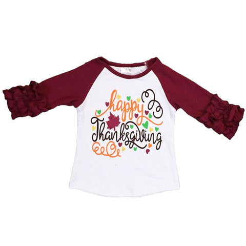 Happy Thanksgiving Shirt Leaf Burgandy Ruffle Raglan
