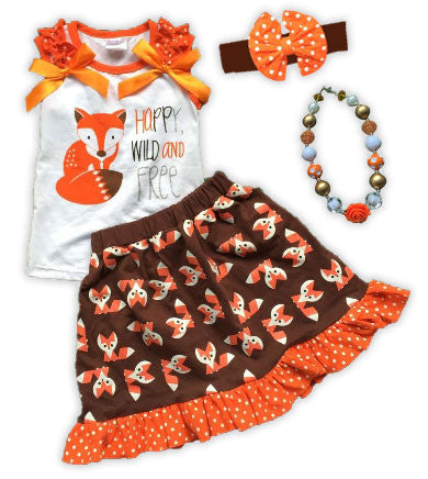 Happy Wild Free Fox Skirt Set