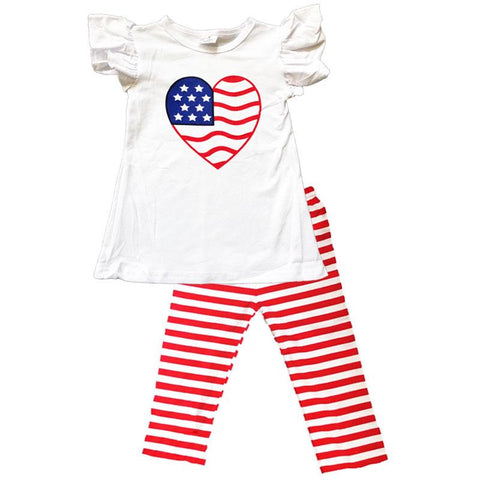 Heart Flag Outfit Red Stripe Top And Pants