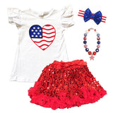 Heart Flag Outfit Red Tulle Top And Skirt