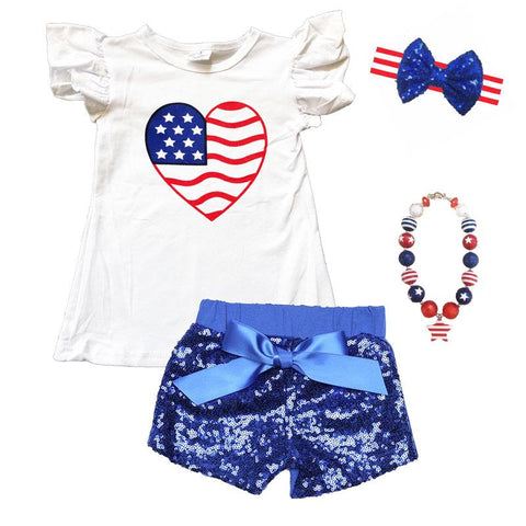 Heart Flag Shirt Stars Stripes White