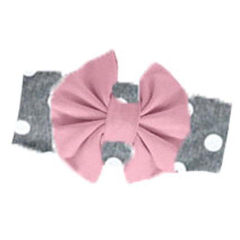 Heather Gray Mauve Messy Bow Headband Polka Dot