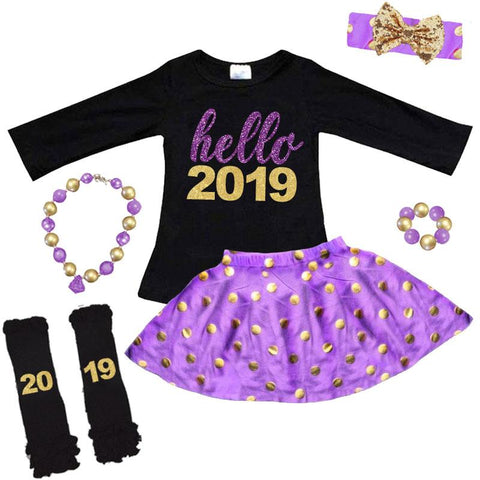 Hello 2019 Outfit Purple Sparkle Polka Dot Top And Skirt