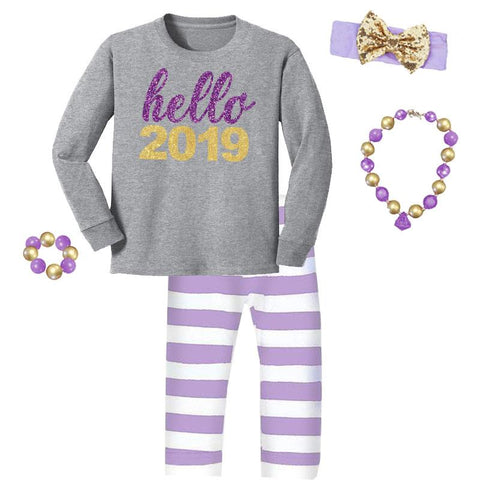 Hello 2019 Outfit Purple Sparkle Stripe Top And Pants