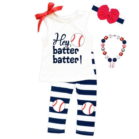 Hey Batter Batter Outfit Navy Stripe Tank Top And Capri