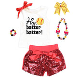 Hey Batter Batter Softball Outfit Red Sequin Top And Shorts